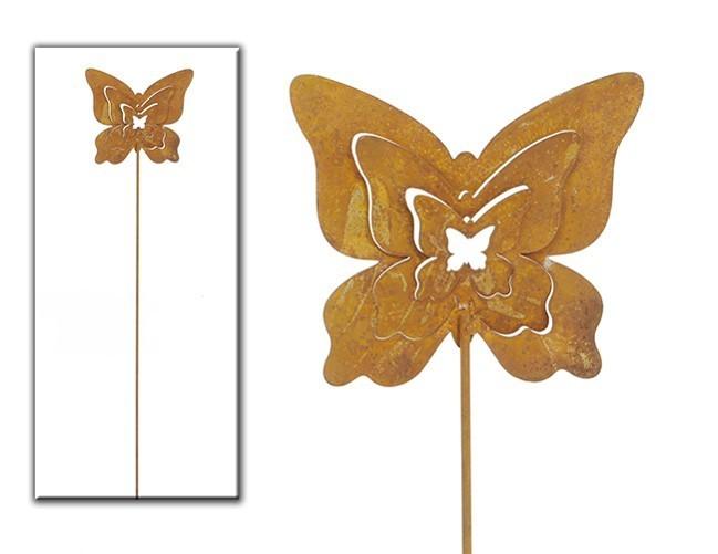 Lot de 5 piques modèle papillon rouille
