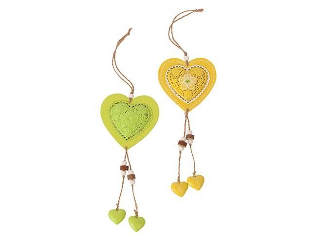 Set de 12 coeurs à suspendre jaune et vert