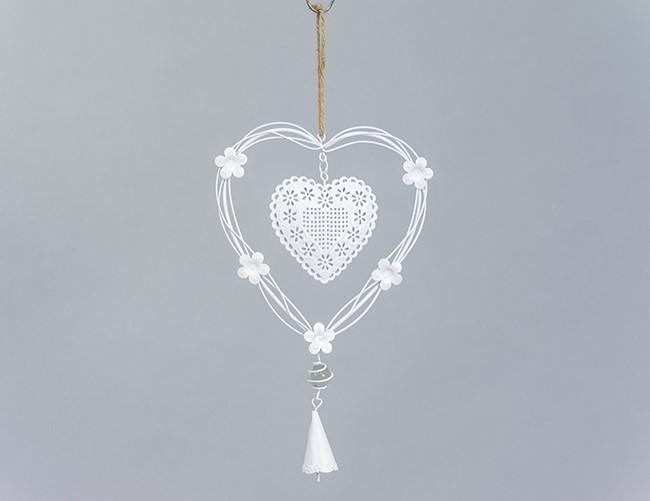 Lot de 12 coeurs métal blanc avec fleur et clochette