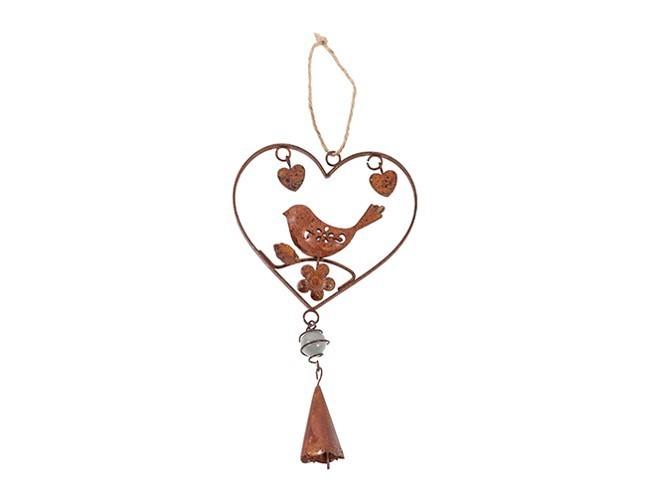 Lot de 16 coeurs avec oiseau et clochette