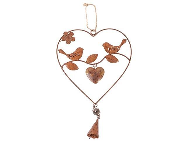 Enssemble de 12 coeurs avec oiseaux sur leur branche