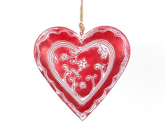 Lot de 12 coeurs métal rouge avec décor en relief