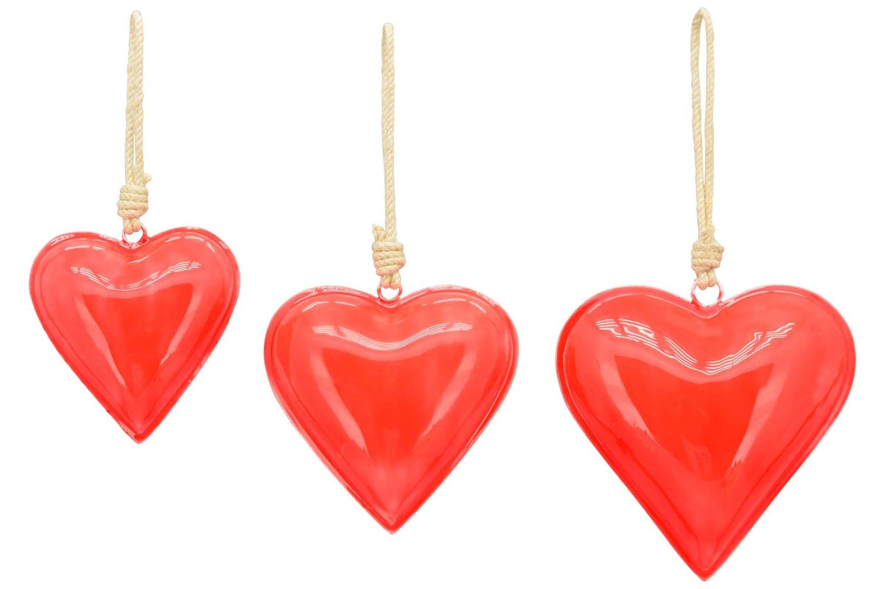 Lot de 10 coeurs en métal rouge