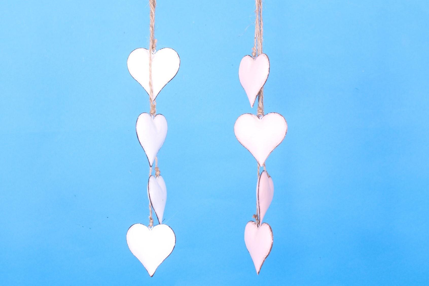 Lot de 6 guirlandes coeur en métal rose et crême