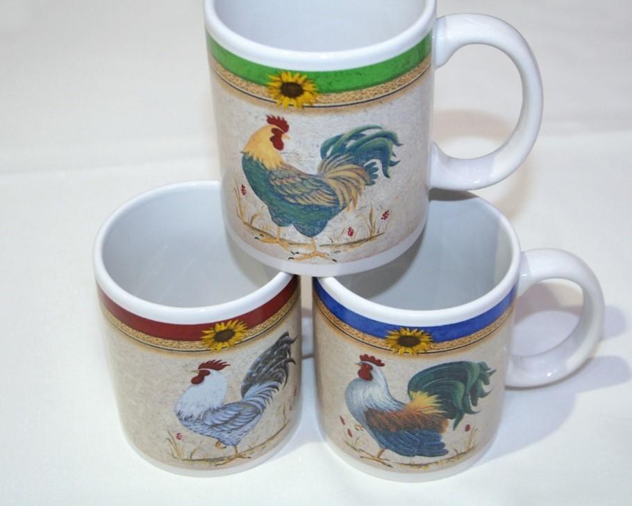 """Enssemble de 9 mug """"coq"""" 3 modèles assortis"""