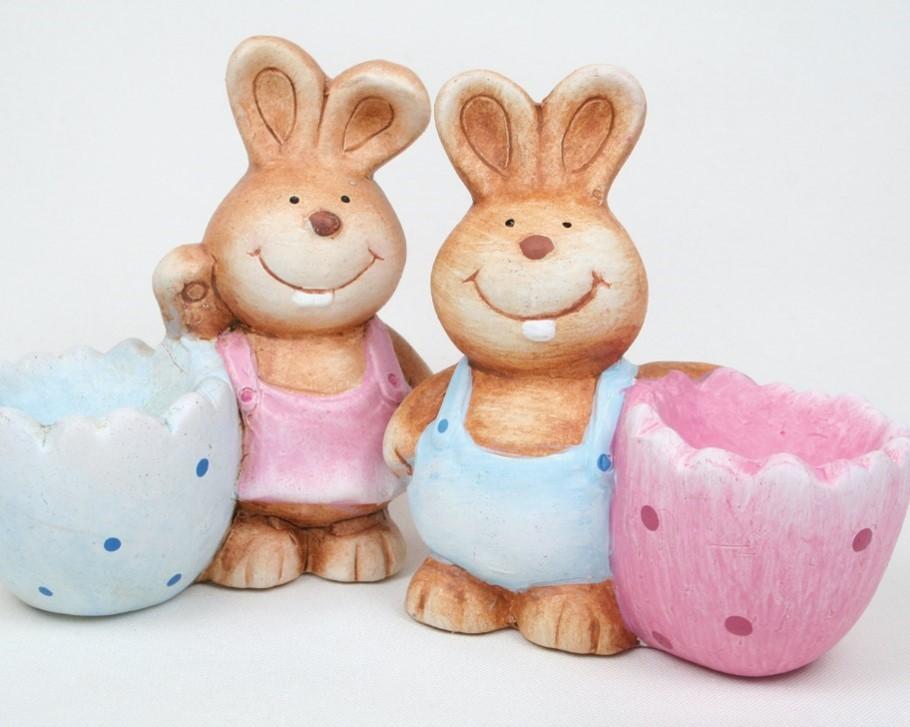 """Lot de 12 coquetiers """"lapins"""" 2 modèles assortis"""