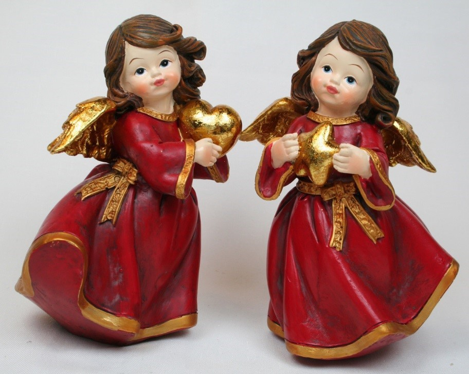 2 anges rouge 13cm