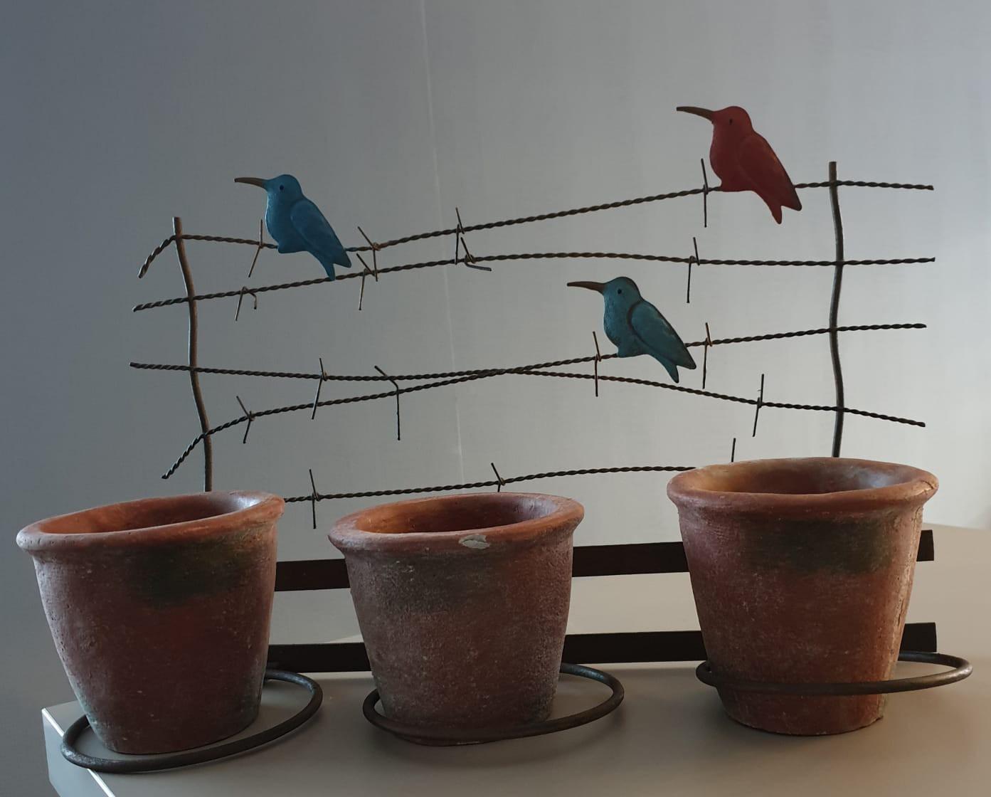 Porte plante 3 oiseaux