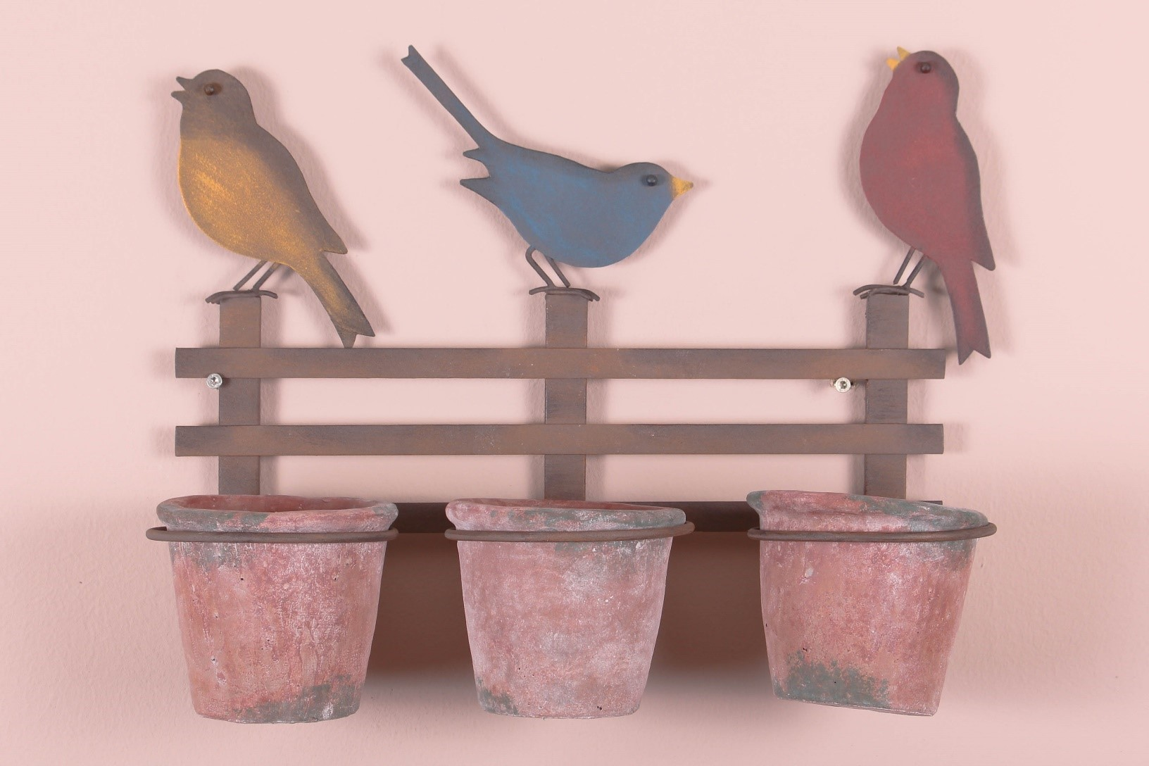 Porte plante 3 oiseaux sur barricade