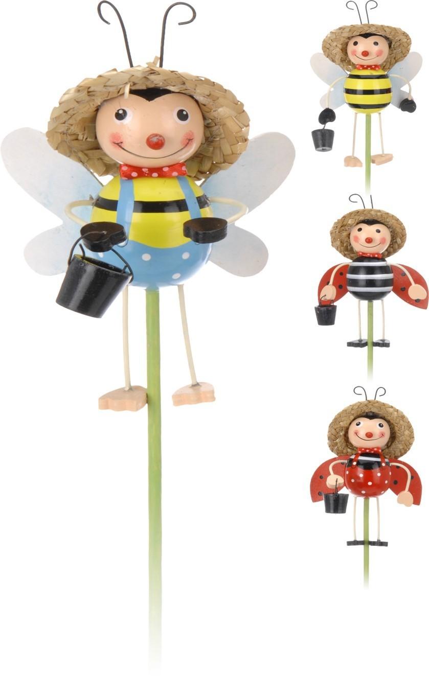 Lot de 16 piques de jardin coccinelle abeille 4 modèles