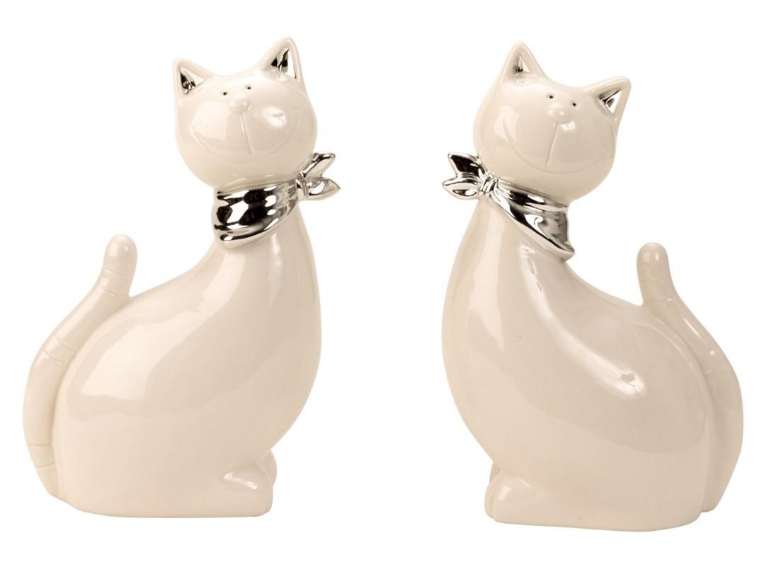 Lot de 6 chat porcelaine 2 modèles assortis
