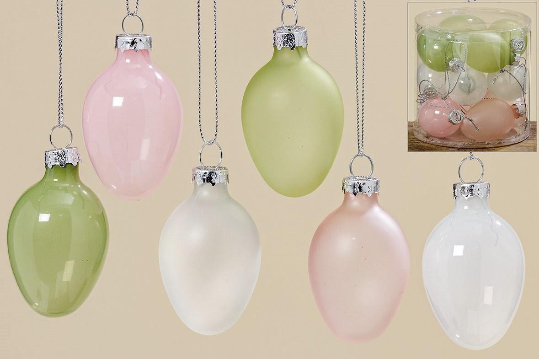 Boite de 12 oeufs en verre couleurs pastel