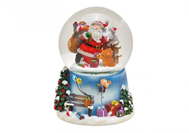 Lot de 2 boules à neige de Noel musicale