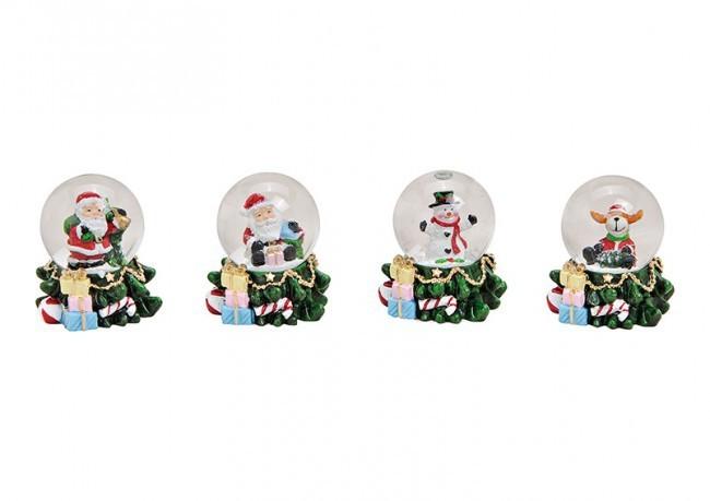 Lot de 12 boules à neige 4 modèles assortis