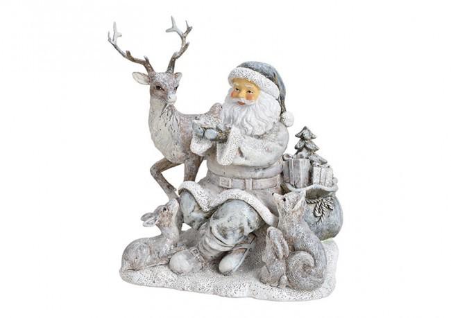 Lot de 4 décorations Père Noel en gris