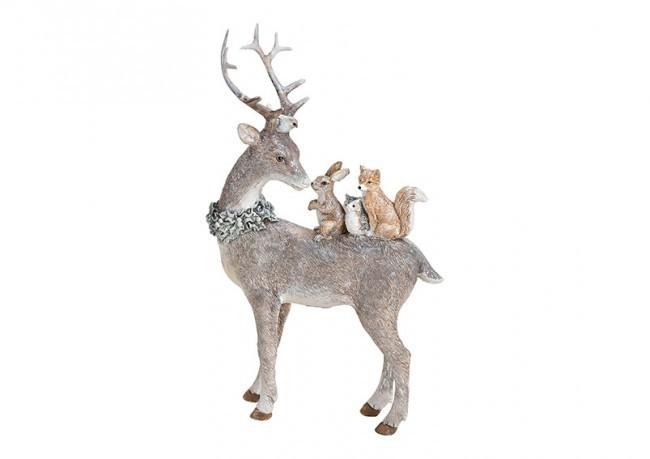 """Lot de 4 décorations """"rennes avec animaux de la foret"""