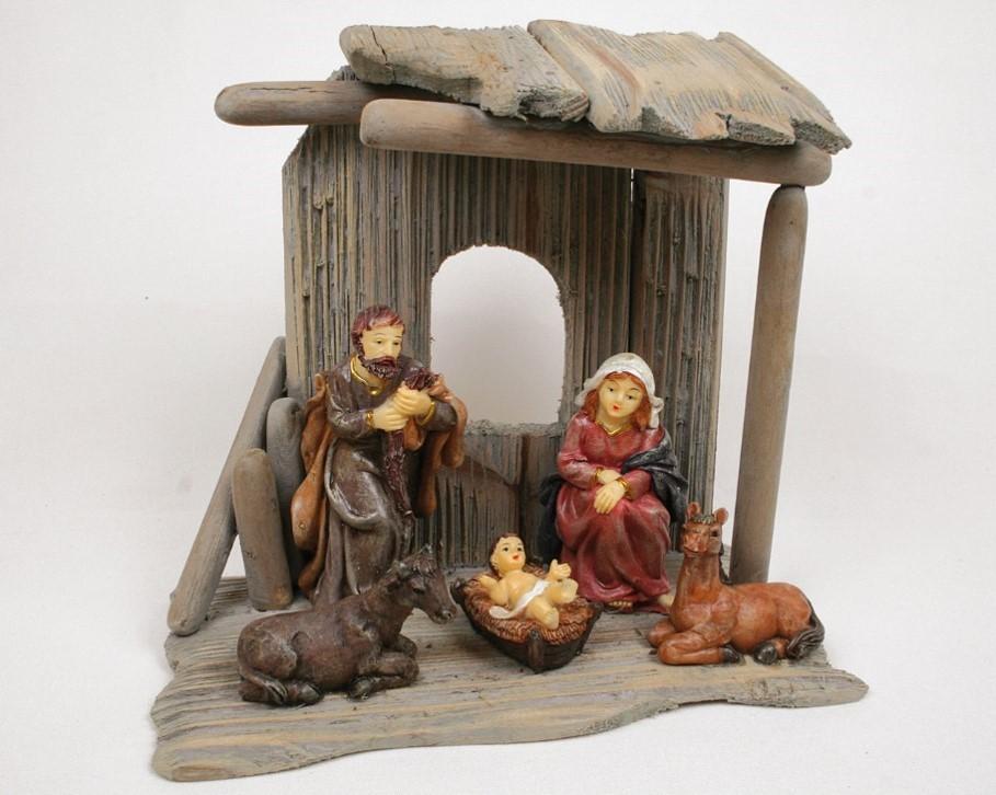 Lot de 4 crèches en bois avec figurines résine