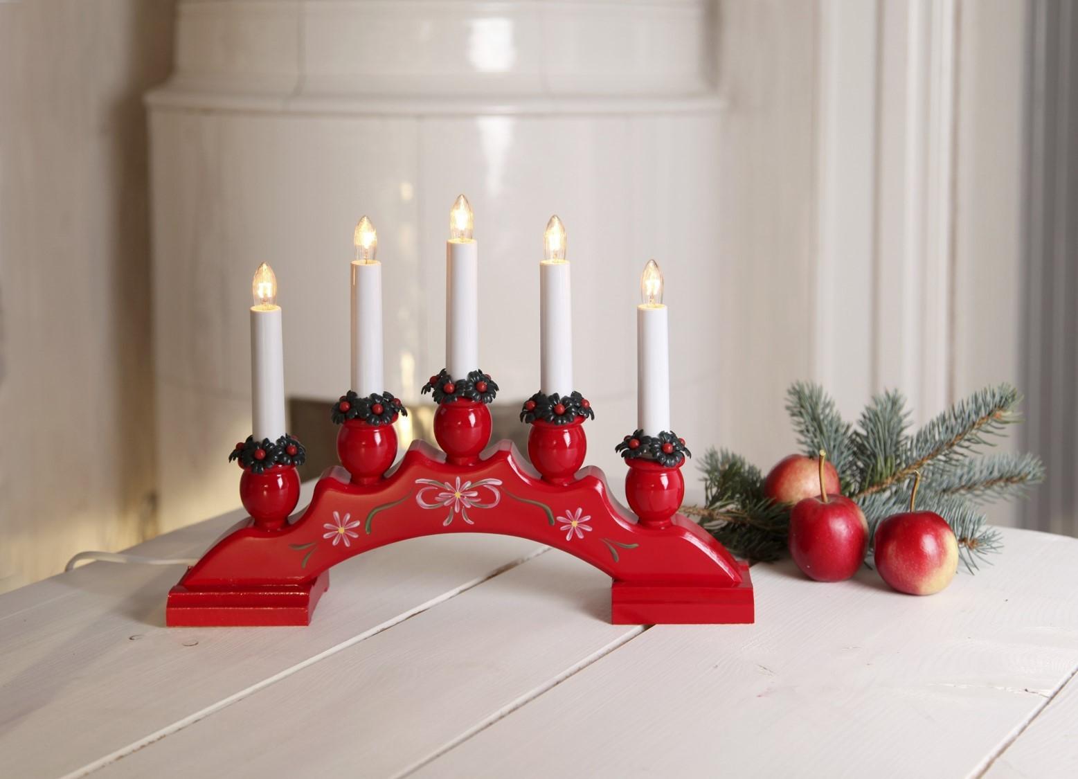 Lot de 5 chandeliers rouges 34x25cm