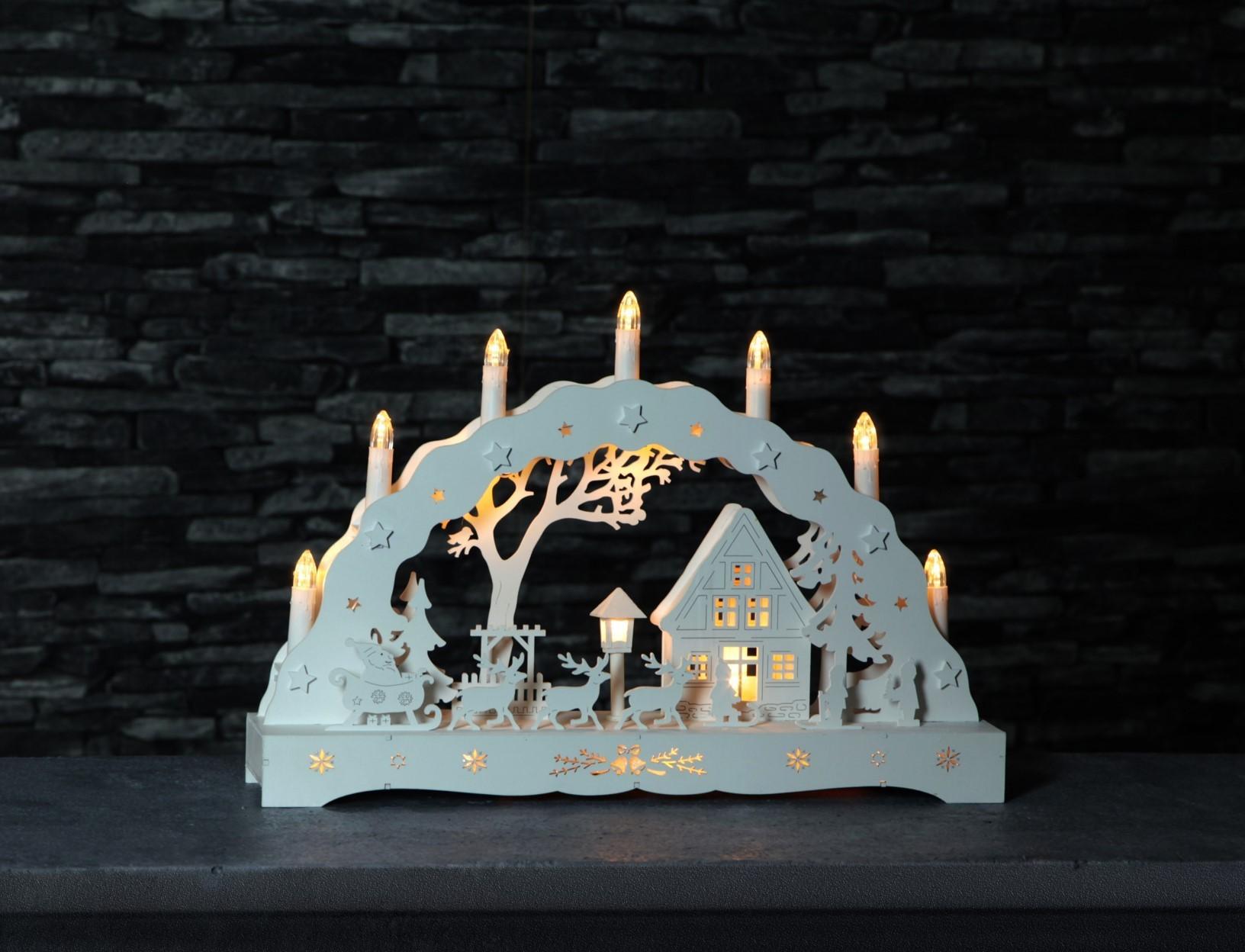 Lot de 4 arches blanches modèle village 7 bougies