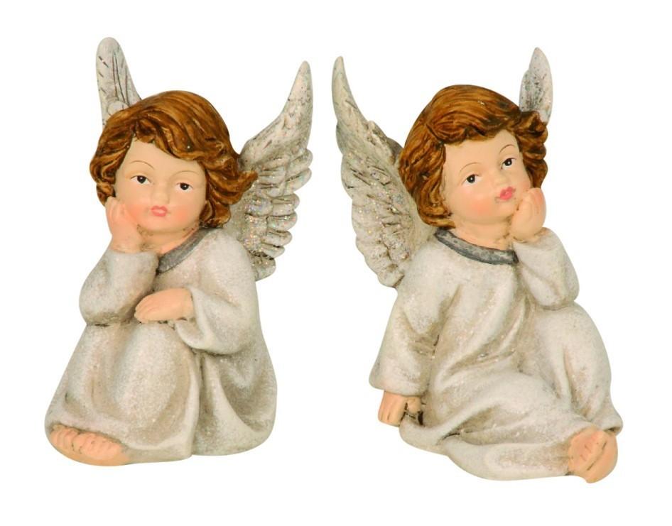 Lot de 12 anges assis 10 cm 2 modèles assortis