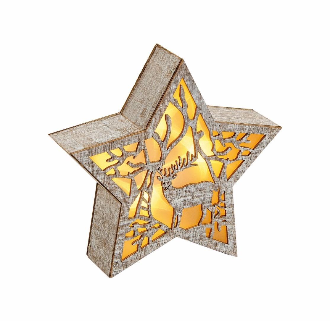 Lot de 6 étoiles bois découpe au laser +led 20cm