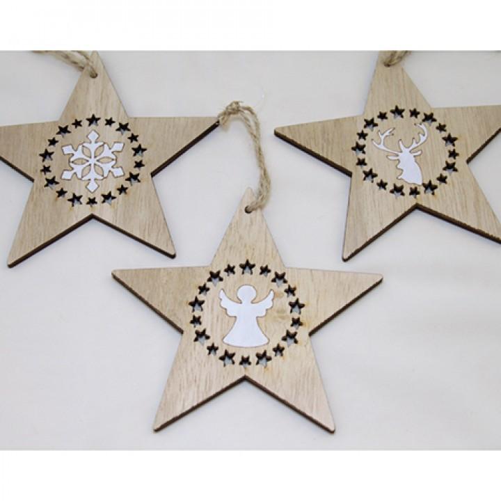 Lot de 24 suspensions étoiles (17x12cm) 3 modèles assortis