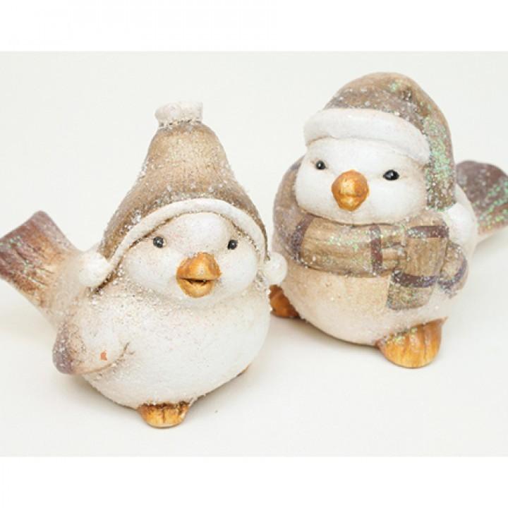 """Lot de 12 oiseaux"""" hiver"""" (2 modèles assortis) 7.5cm"""