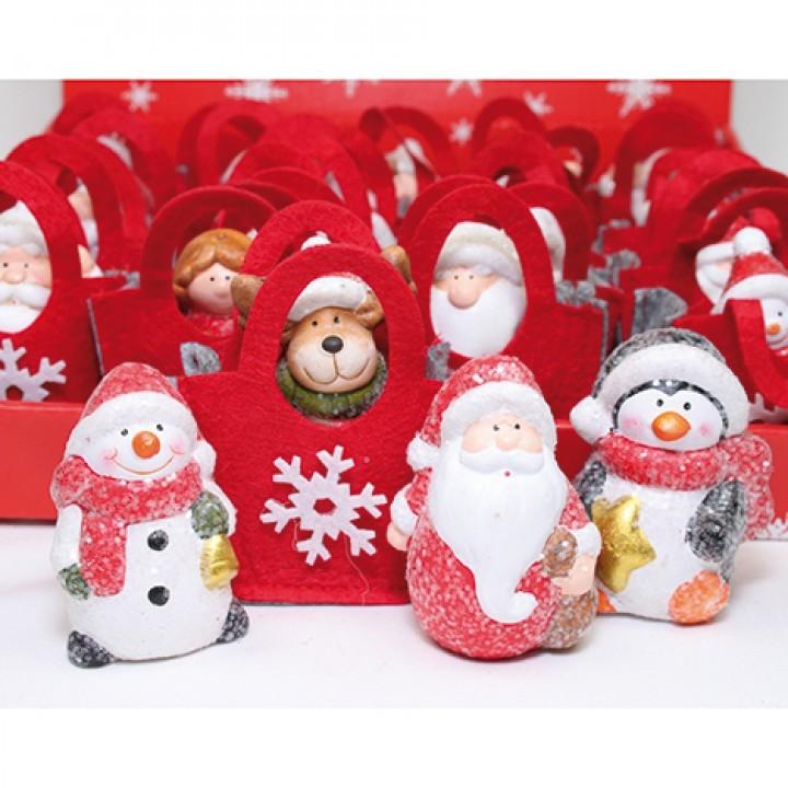 Lot de 24 sujets de Noël dans sac en feutrine 9cm