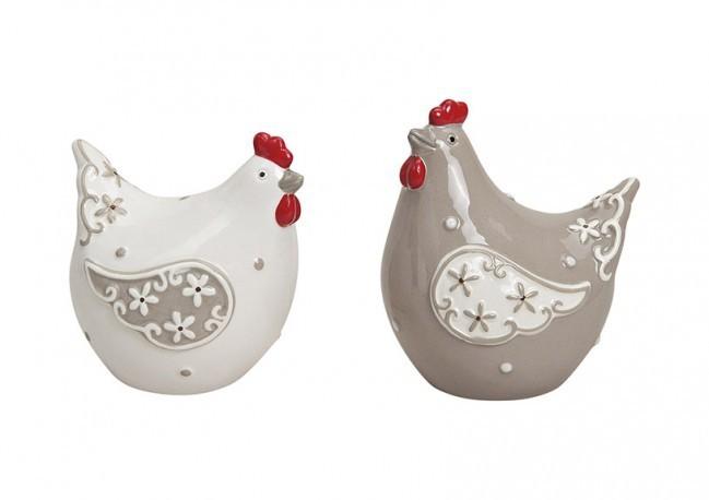 Poules en céramique 2 modèles assortis (7x6x9cm)