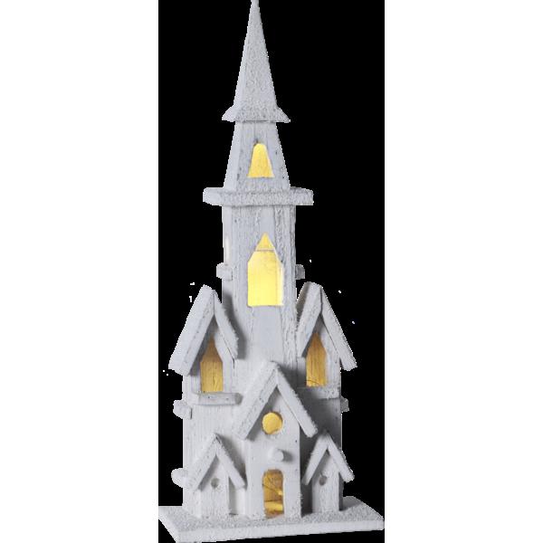 Lot de 4 églises LED blanches