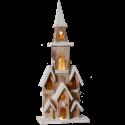 Lot de 4 églises LED bois 49.5cm