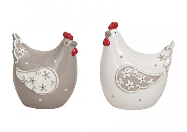 Poules en céramique 2 modèles assortis (10x8x14cm)