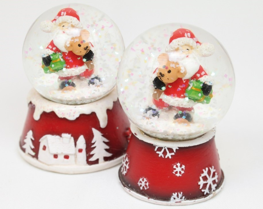 Lot de 20 boules de neige Père Noël 7.5cm