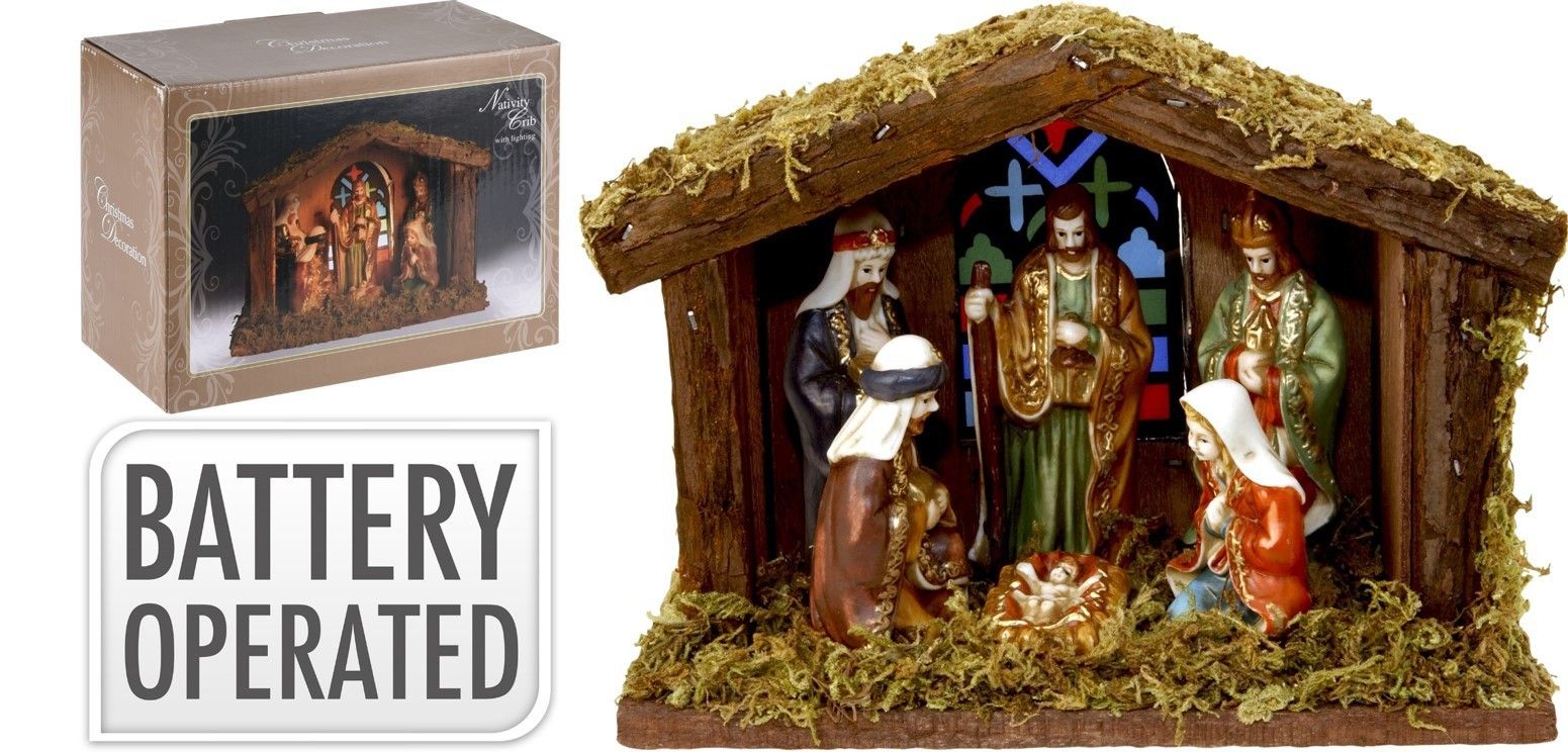 Crèche en bois 6 figurines+lumière 20cm