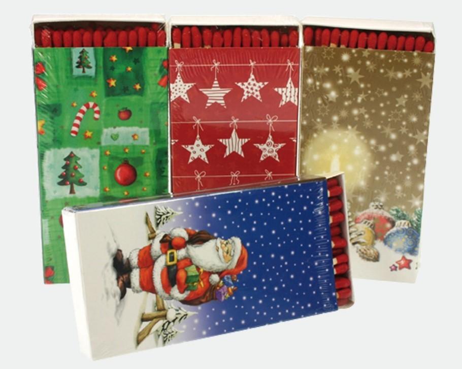 Lot de 20 boites d'allumettes décor Noël 12.5cm