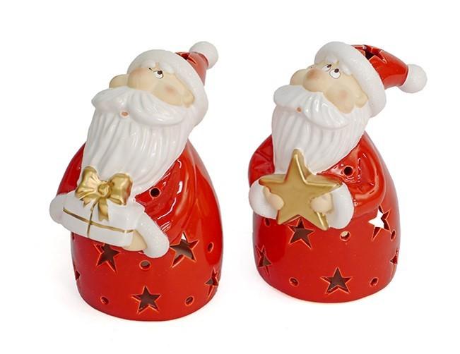 Lot de photophores Père Noël 19cm 2modèles assortis