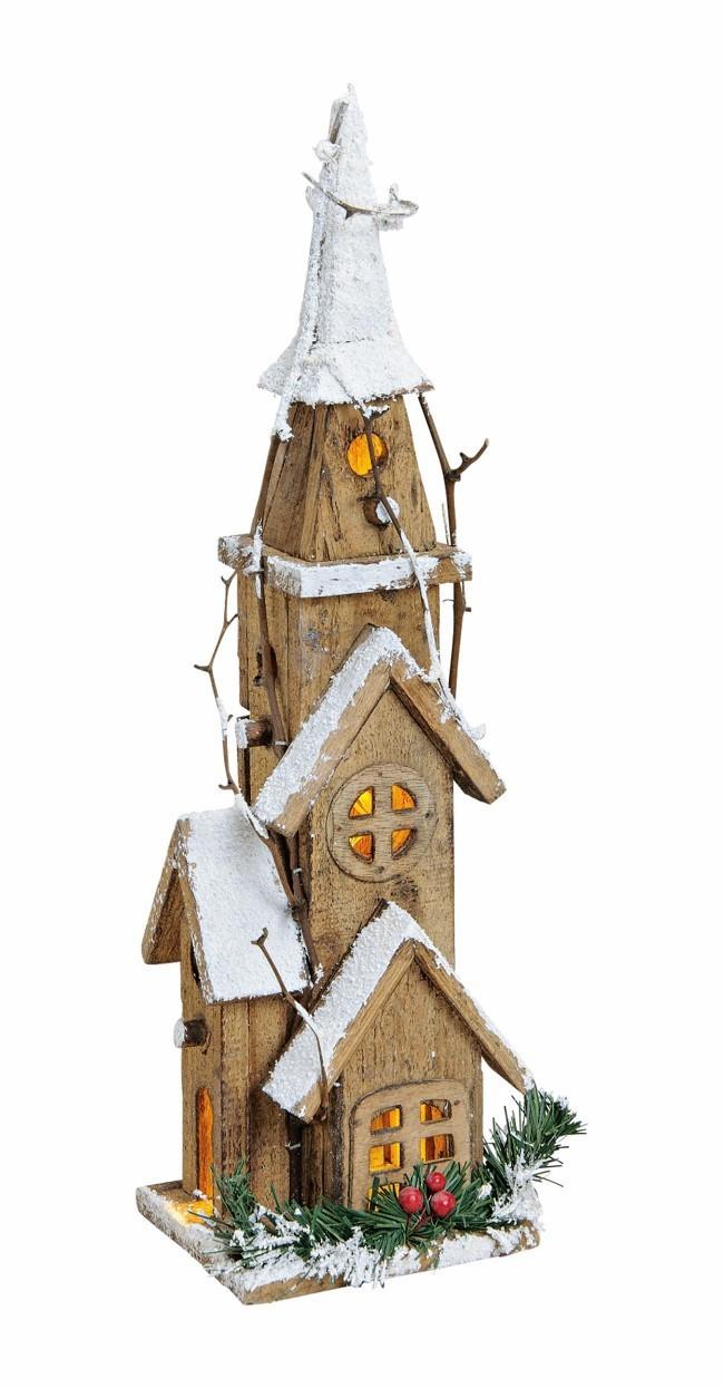 Lot de 5 églises en bois LED 42cm