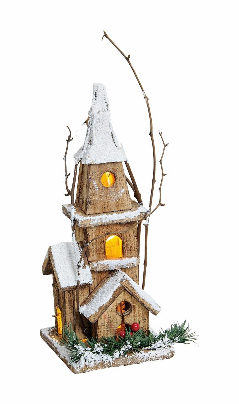 Lot de 4 églises en bois LED 30cm