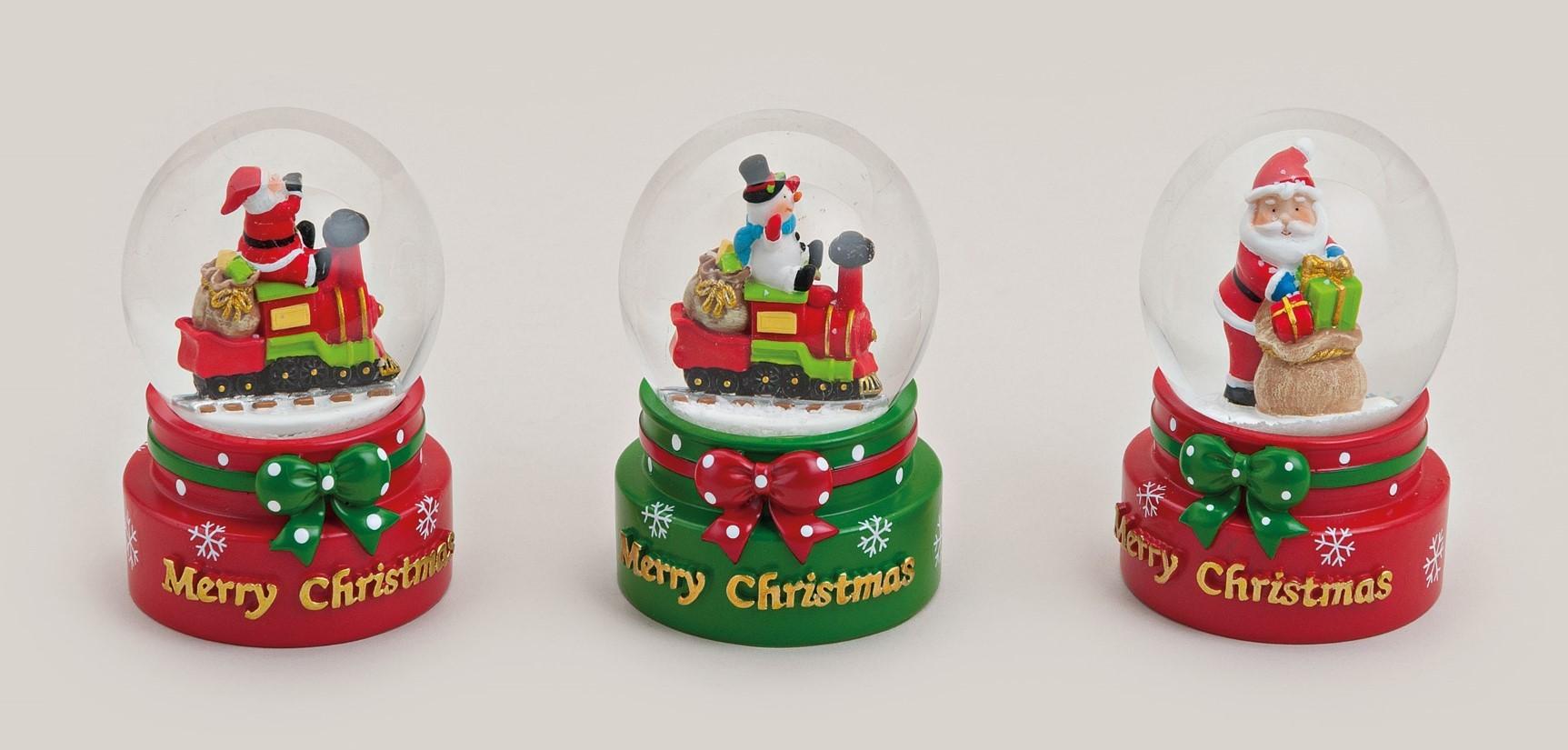 Lot de 22 boules de neige de Noël 7cm 3modèles assortis