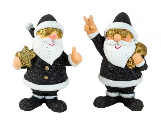 Lot de 24 Pères Noël fun noir/or 7.5cm