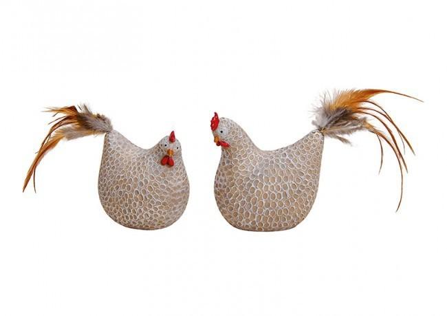 Poule et poulet résine 2 modèles assortis