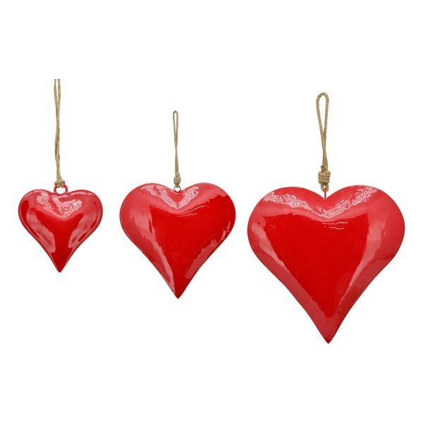 Lot de 24 coeurs rouges en métal 5cm