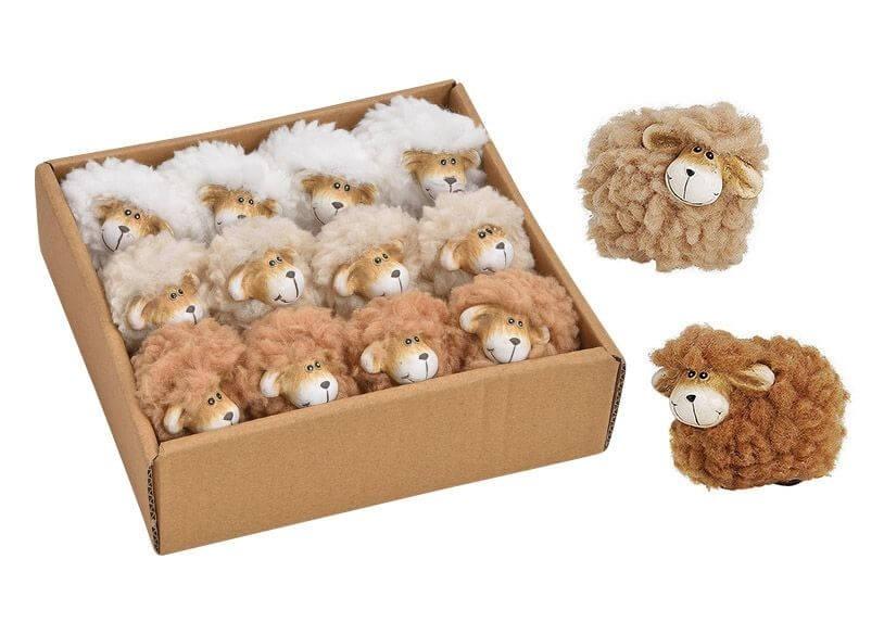 Lot de 12 moutons 3 couleurs assortis 4cm