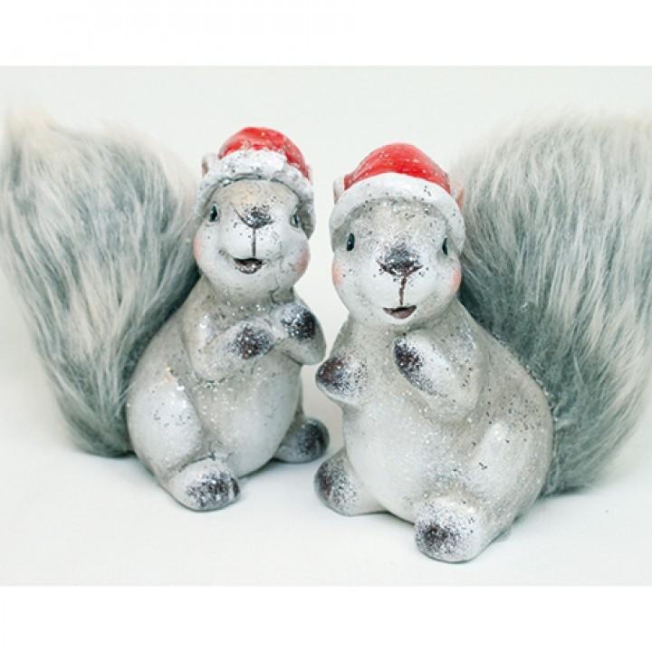 Lot de 12 écureuils 10cm ( 2 modèles assortis)