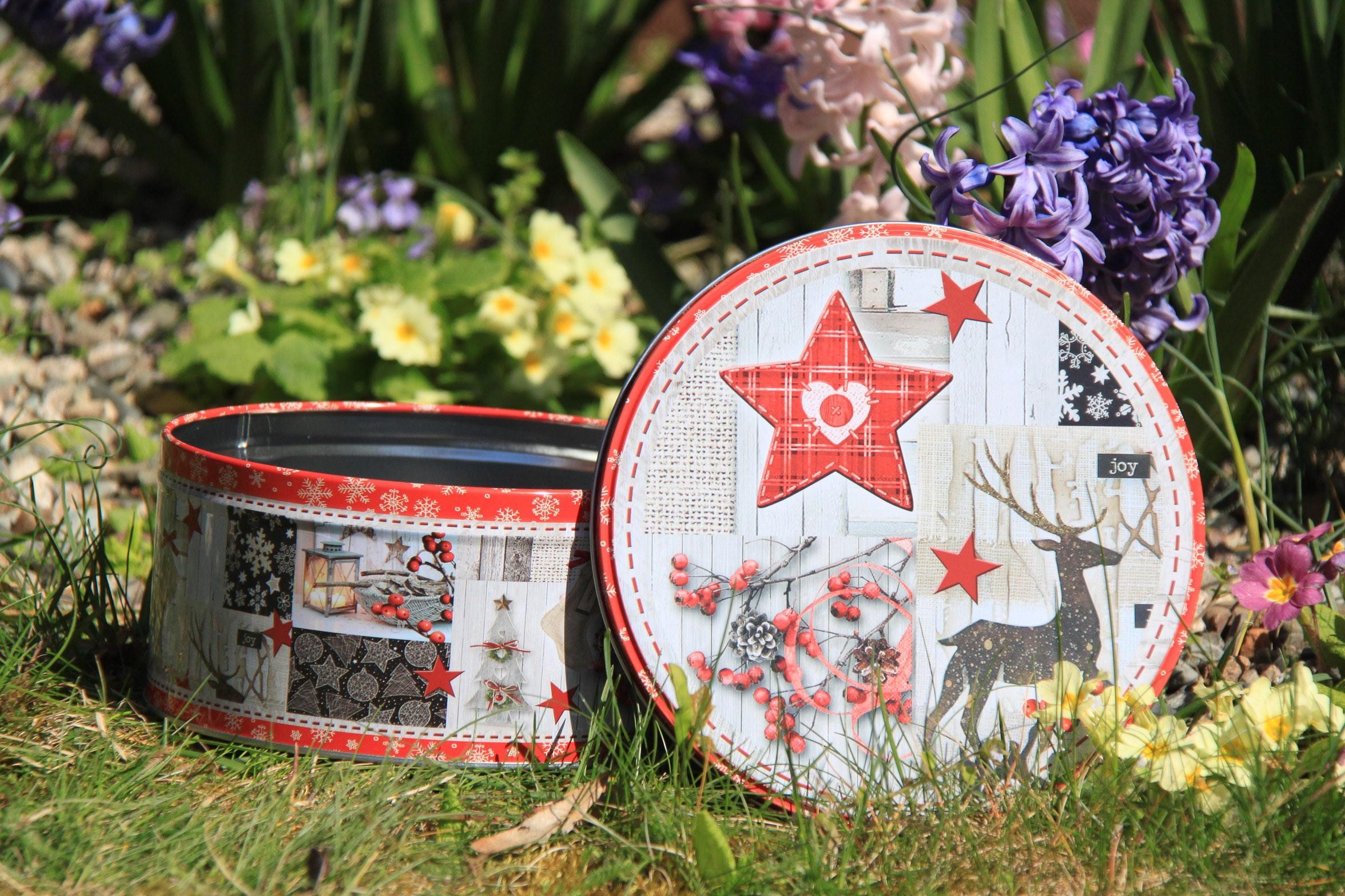 Lot de 12 boites à gateaux (3tailles) décor étoile renne