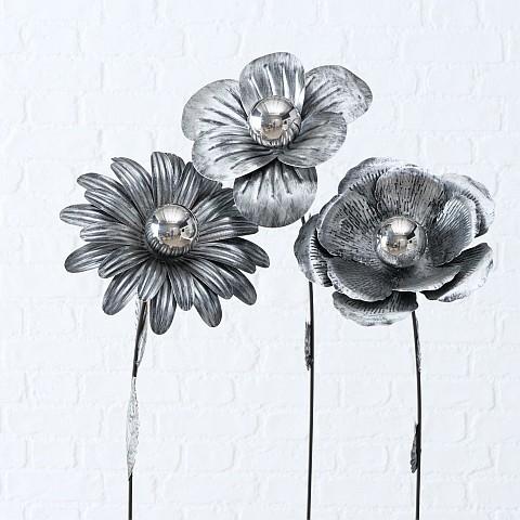 Lot de 3 fleurs sur pique 112cm