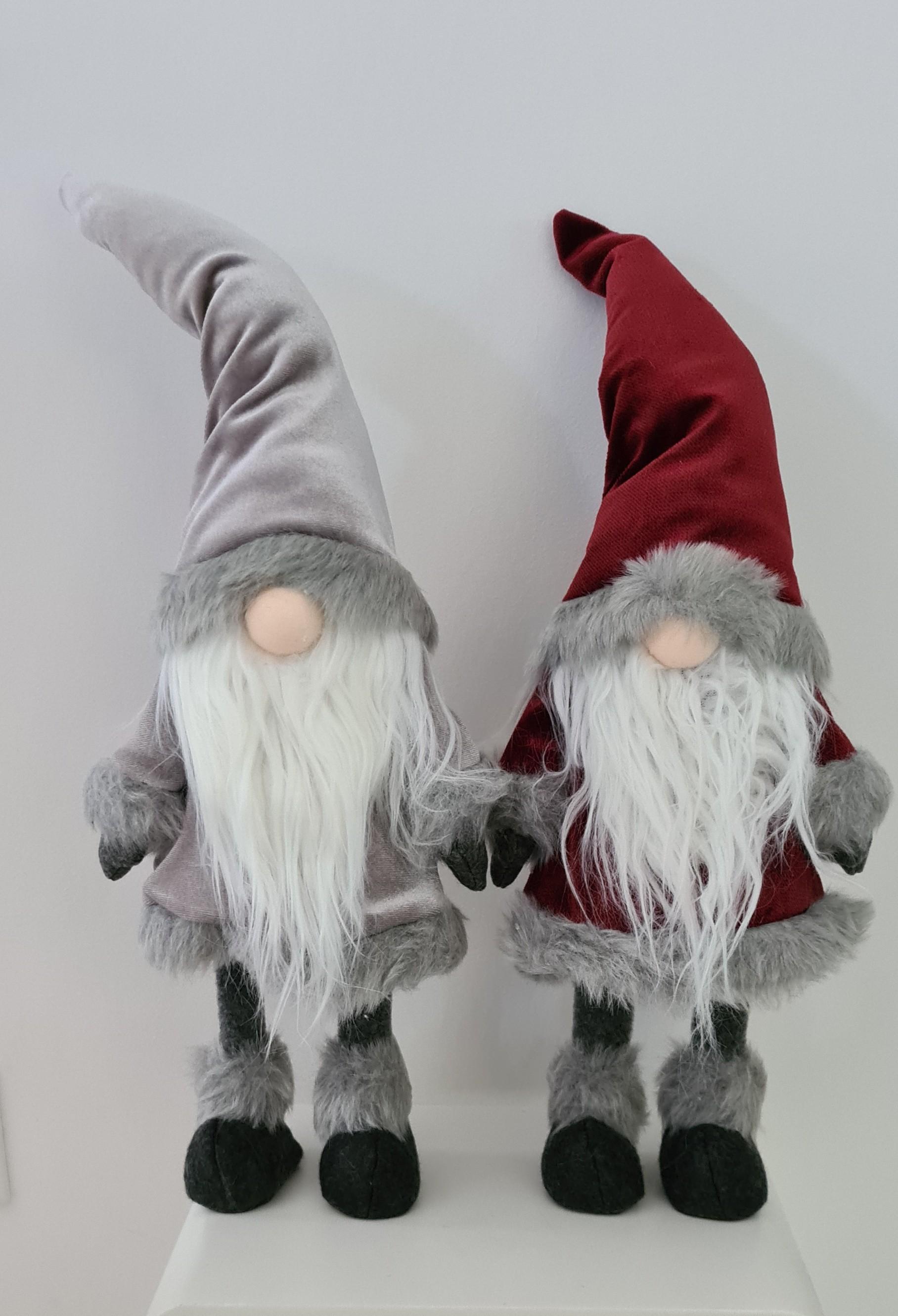 Lot de 2 gnomes rouge et gris 64 cm