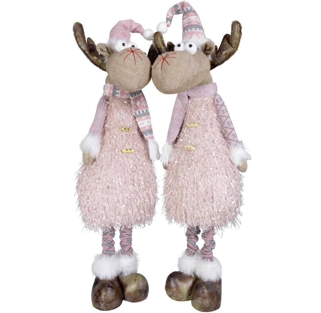 Lot de 2 gnomes roses 75 cm LED