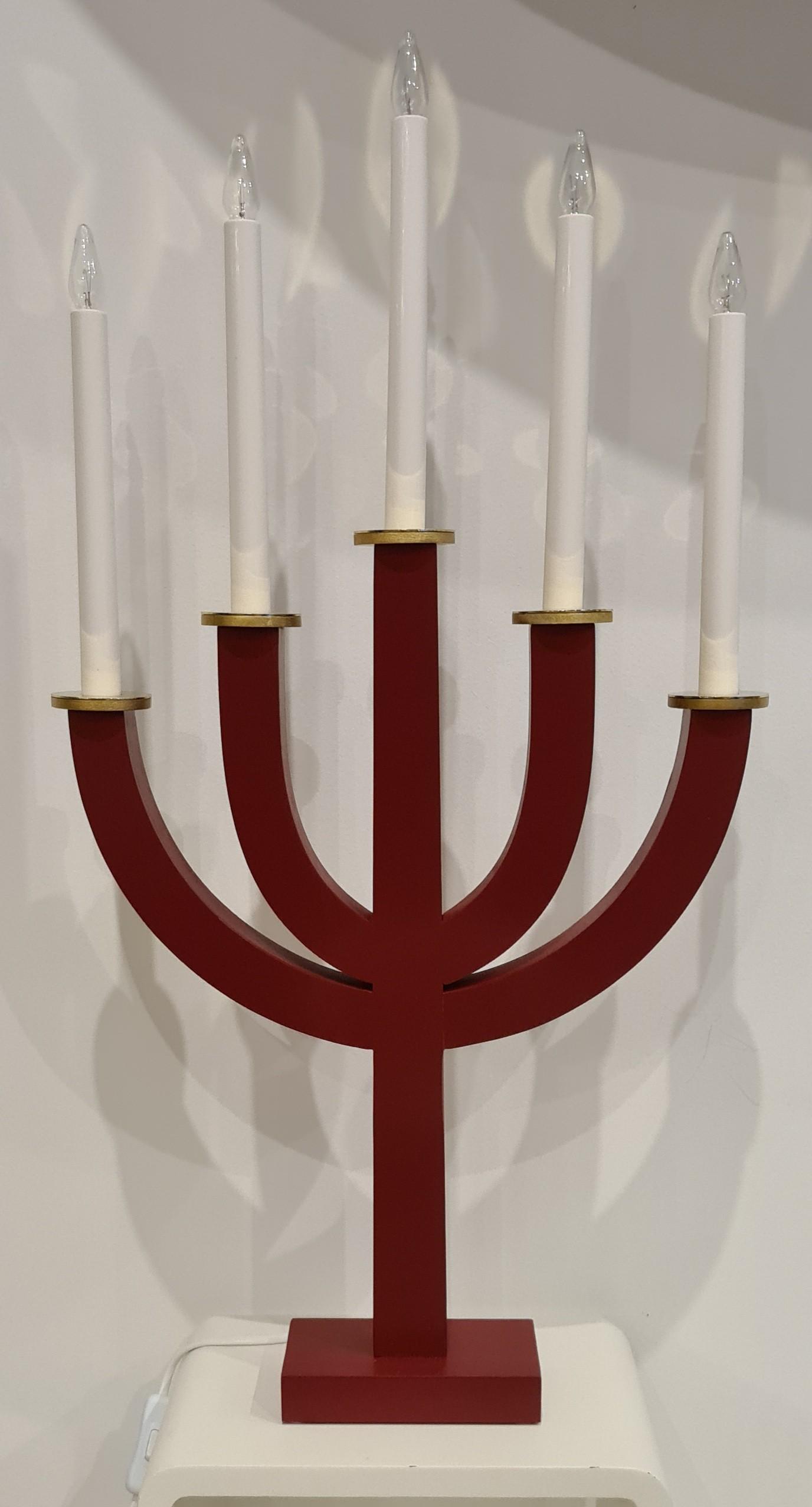 Lot de 4 chandeliers 5branches rouges