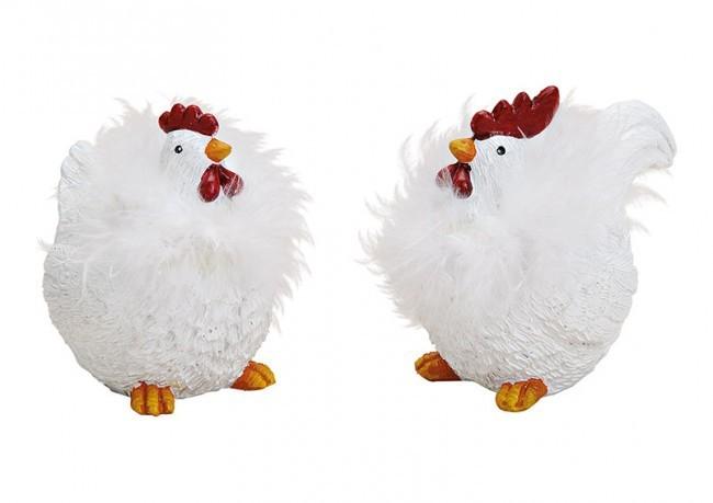 Poule et coq 2 modèles assortis avec plumes